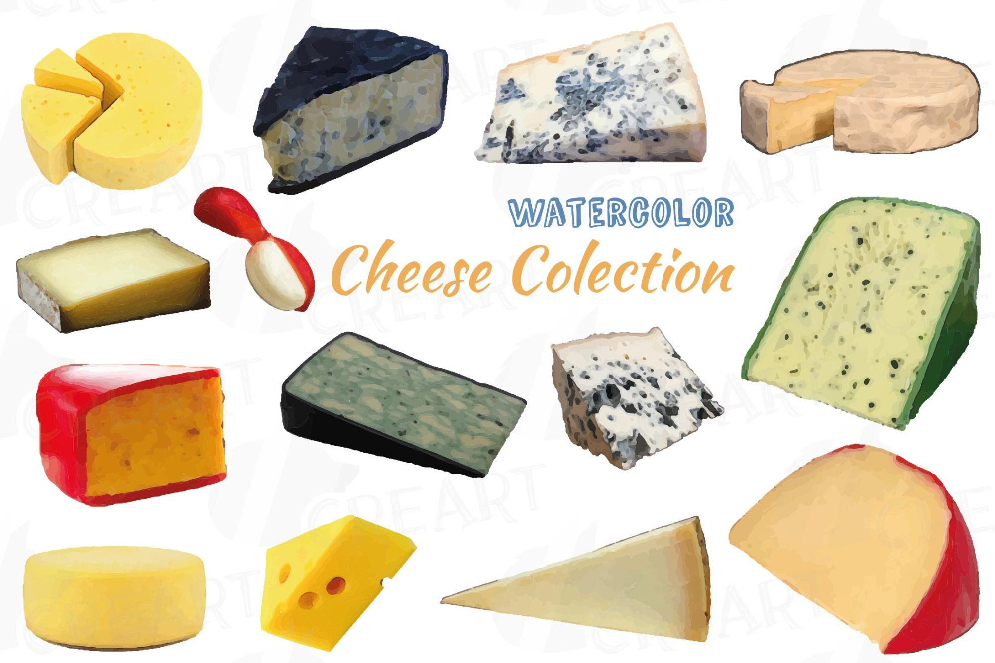 hight resolution of watercolor cheese clip art pack culinary food print vectors example image 1