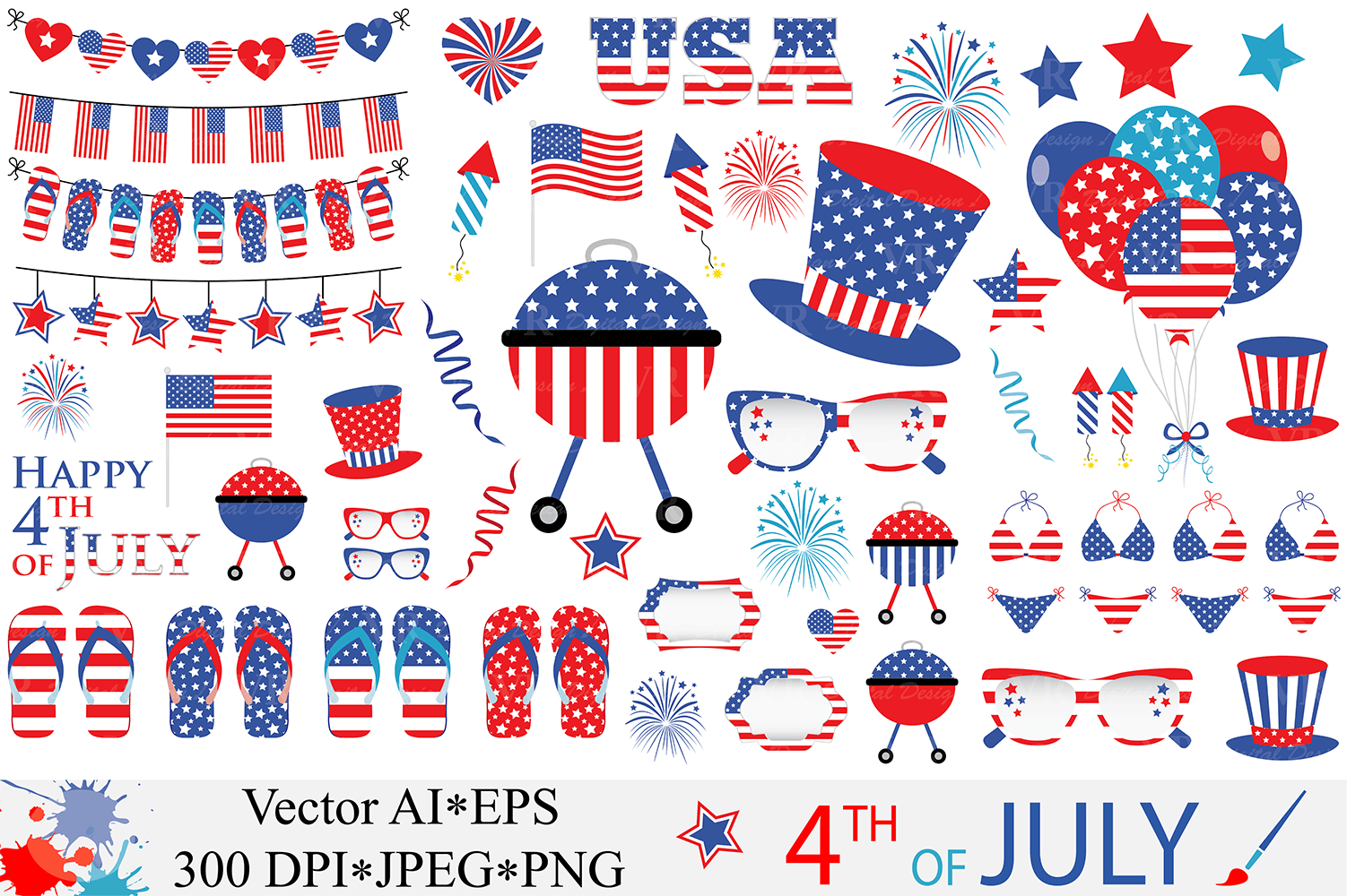 4th Of July Clipart Usa Patriotic Vector Graphics