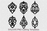 Bundle leather earring template svg, oriental jewelry svg