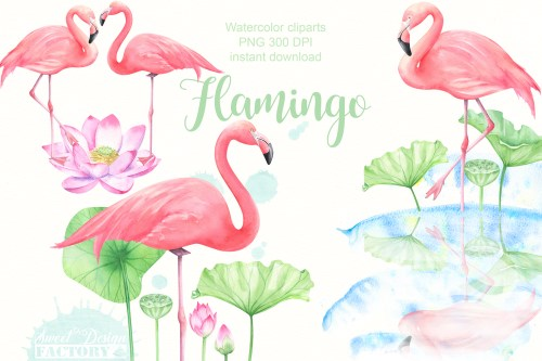 small resolution of watercolor flamingo cliparts example image 1