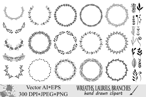 small resolution of wreaths clipart hand drawn black design elements digital wreath laurels leaves and