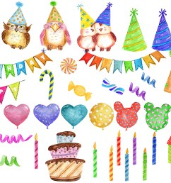 watercolor birthday party clipart example image 2 [ 1160 x 773 Pixel ]