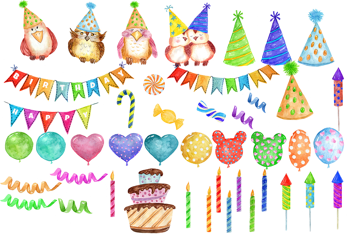hight resolution of watercolor birthday party clipart example image 2