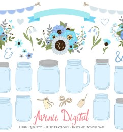 blue and gray floral mason jar wedding clipart example image 1 [ 1160 x 772 Pixel ]