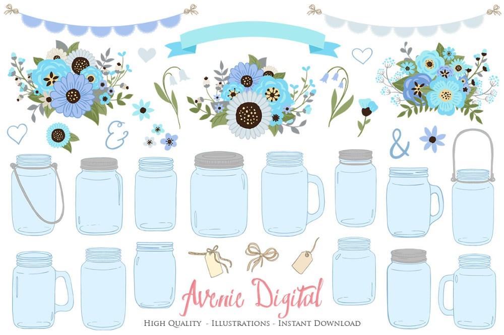 medium resolution of blue and gray floral mason jar wedding clipart example image 1