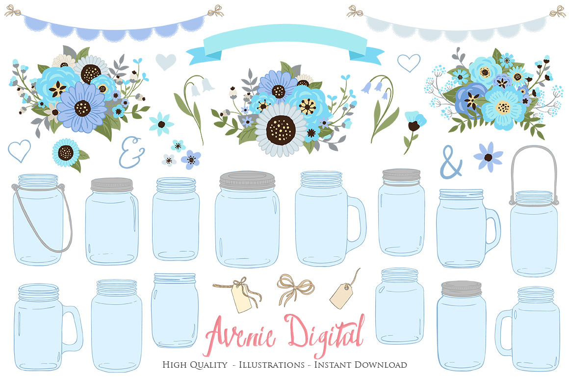 hight resolution of blue and gray floral mason jar wedding clipart example image 1