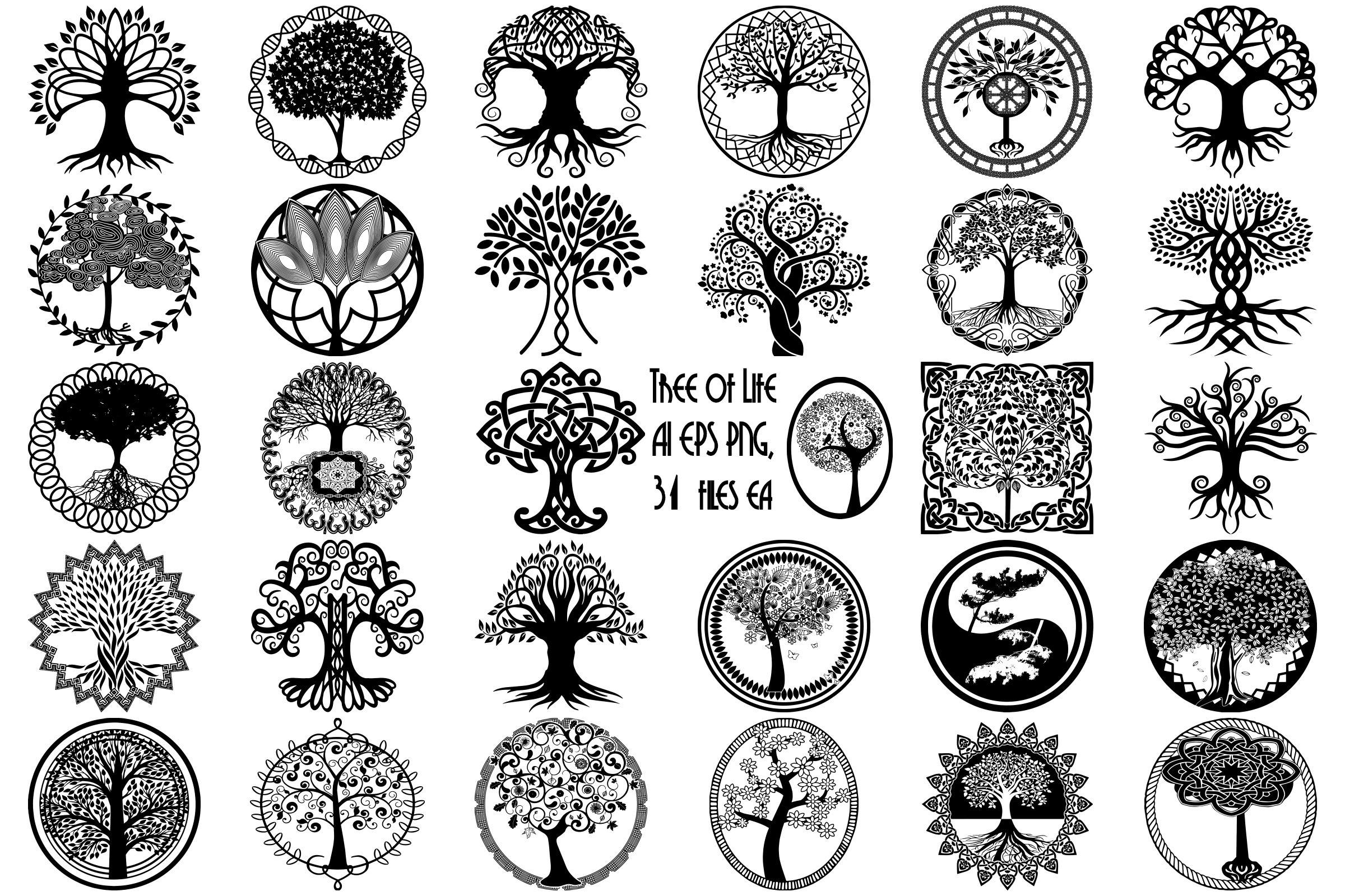 Tree Of Life Silhouettes Ai Eps Vector Amp