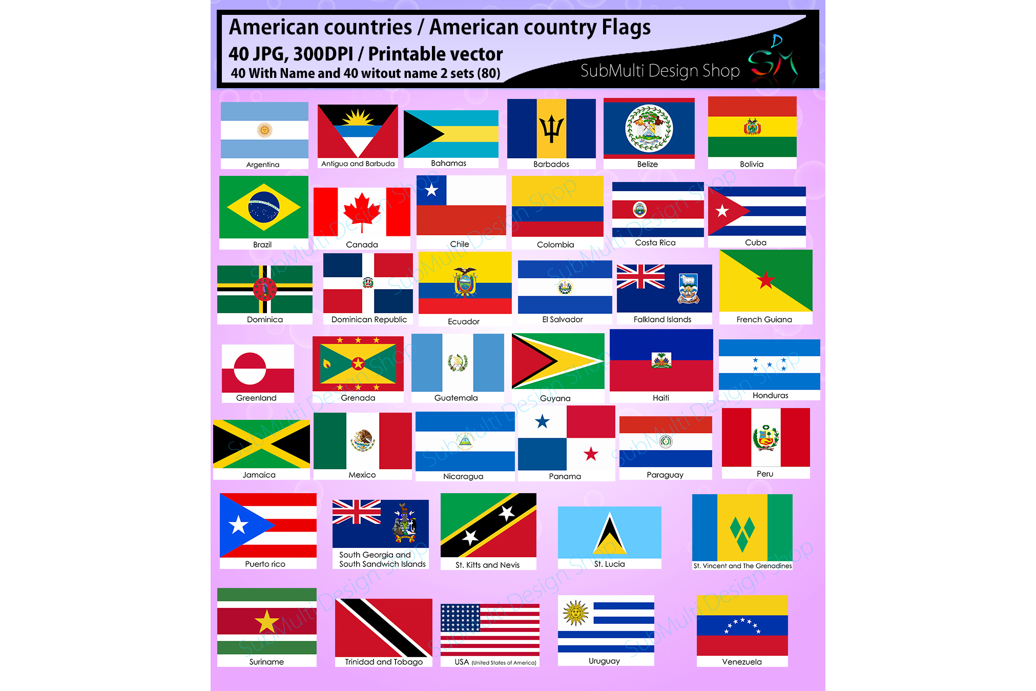 American Countries American Country Flags Country Flag