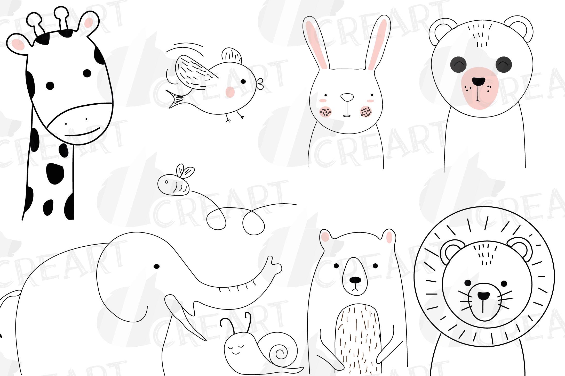 Baby animal friends line illustration, minimalist drawing