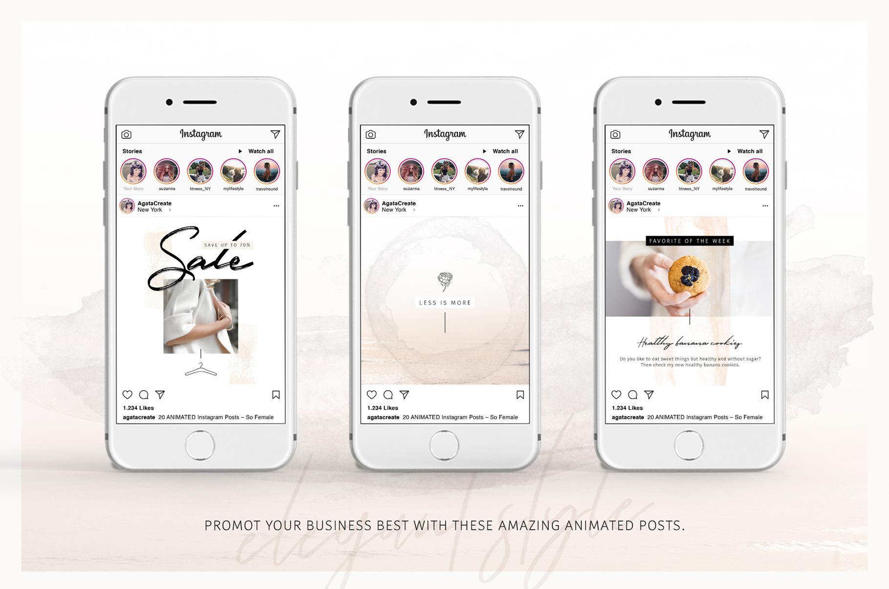 ANIMATED Instagram Posts So Female (84822)   Websites   Design Bundles