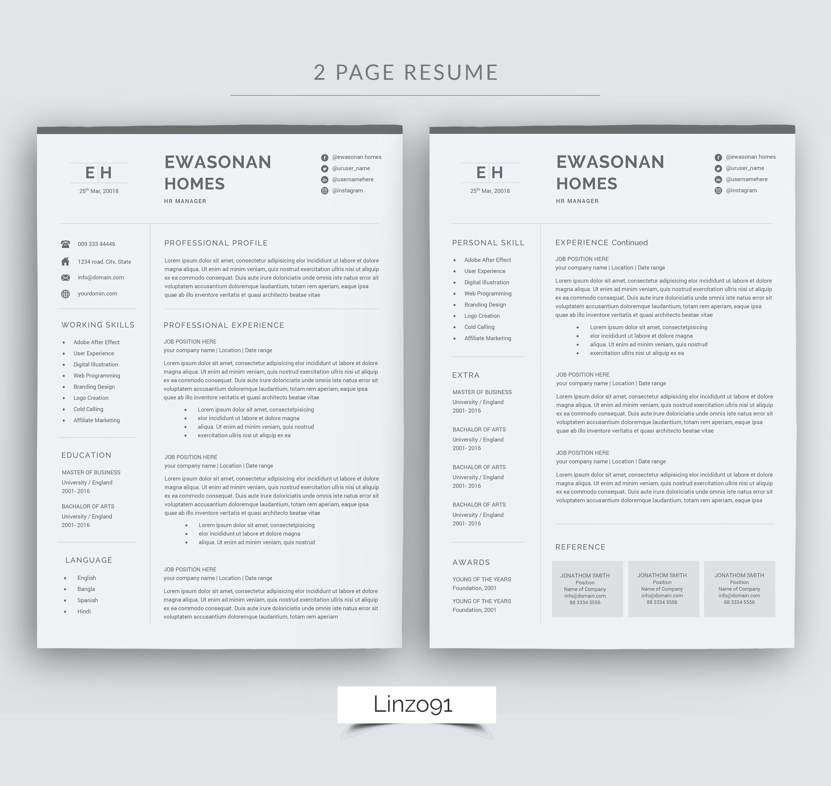Pages Templates Resume Minimal Resume 3 Pages Cv Template For Word Two Page Resume Cover Letter In Word Teacher Resume Simple Resume