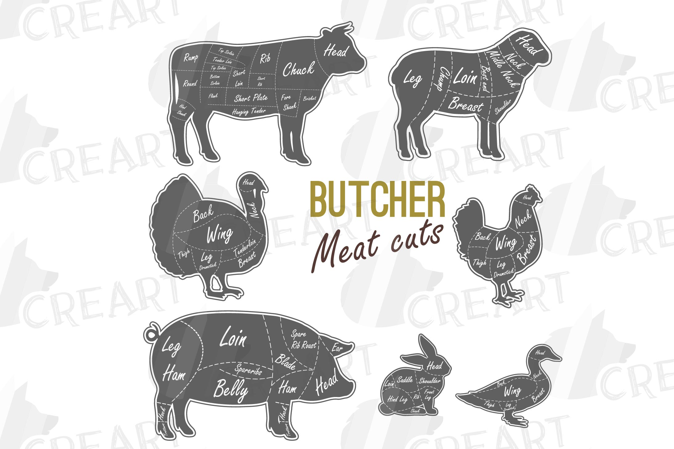 Butcher Diagram Clipart Cuts Of Meat Lamb Beef Pork Chic