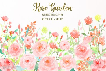 watercolor garden clipart rose flower pink flowers collection roses corner floral illustrations graphics clip illustration printable croft paintings thehungryjpeg prints