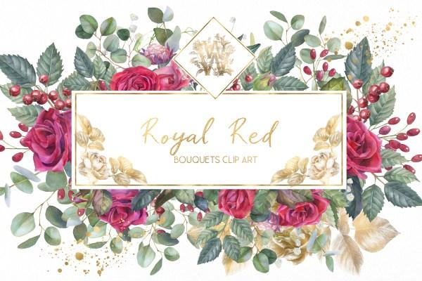 marsala red rose floral border