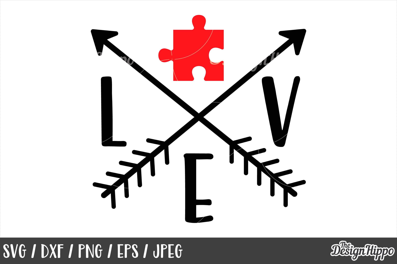Autism Awareness Love Puzzle Piece Arrows Svg Dxf