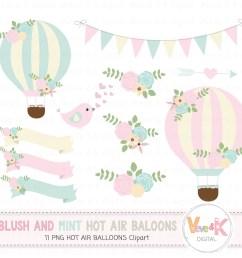 hot air balloons clipart blush and mint hot air balloon clipart wedding invitations clipart [ 1500 x 1352 Pixel ]