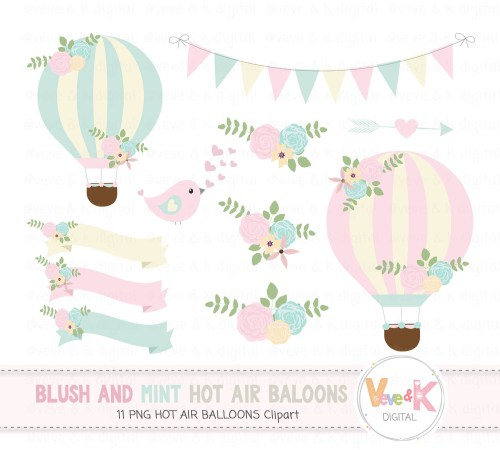 small resolution of hot air balloons clipart blush and mint hot air balloon clipart wedding invitations clipart