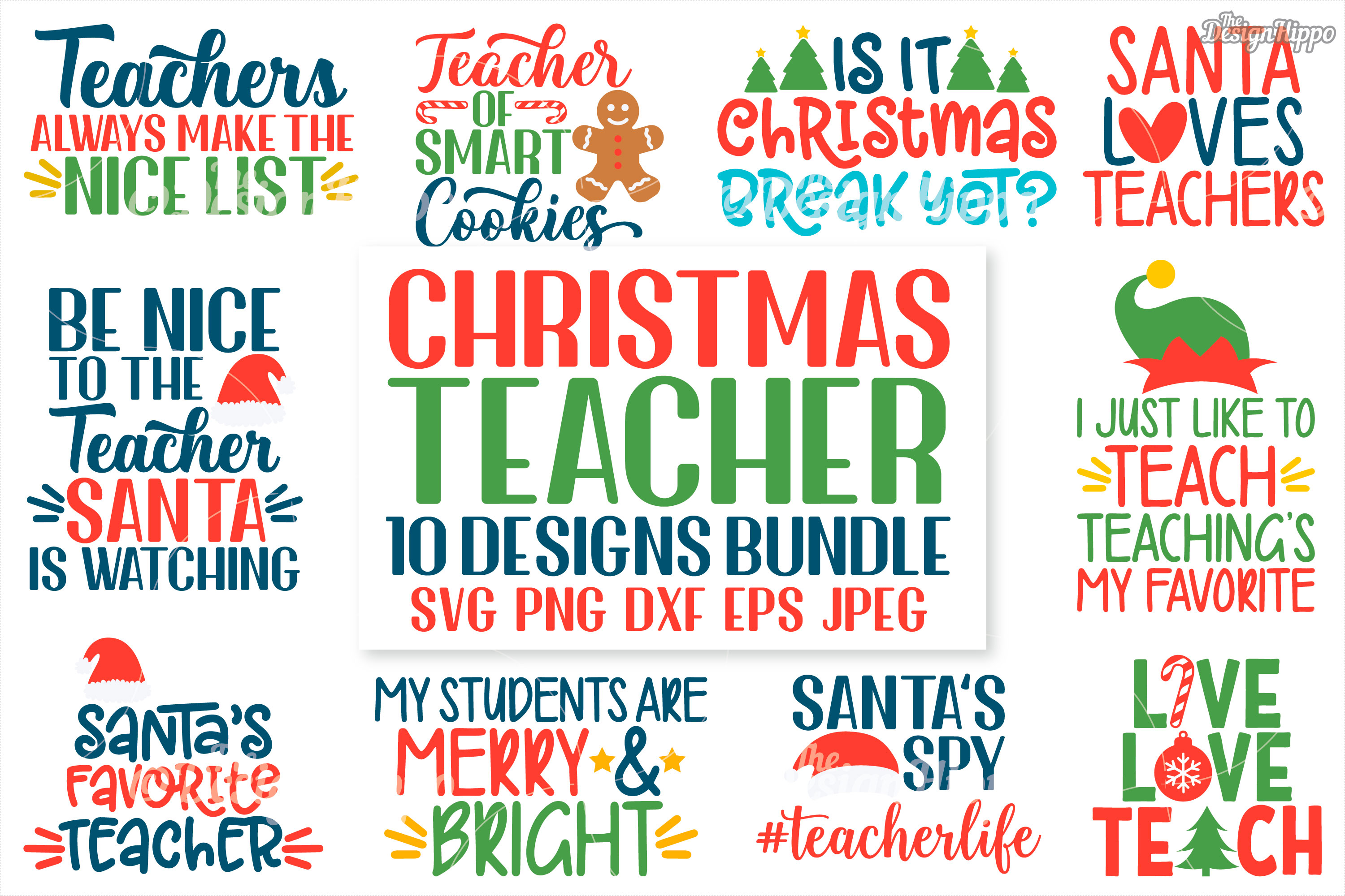 Teacher Christmas Bundle Of 10 Svg Dxf Eps Cut Files