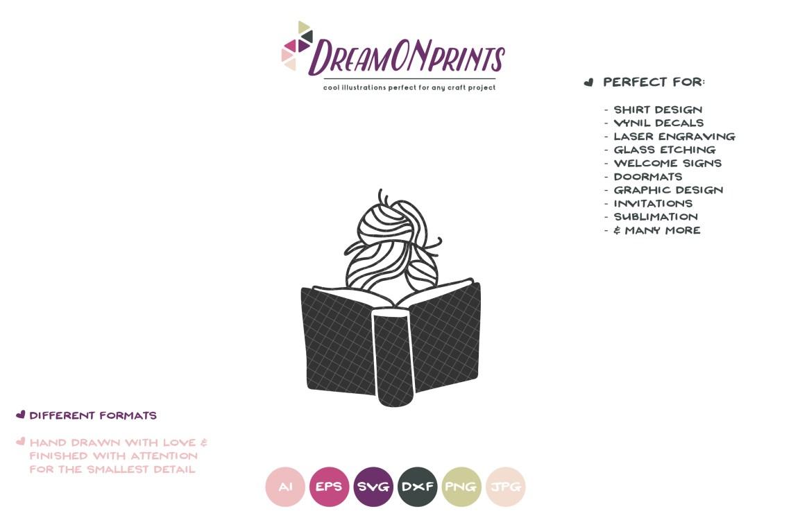 Download Girl Reading Book SVG | Book Lover SVG Design