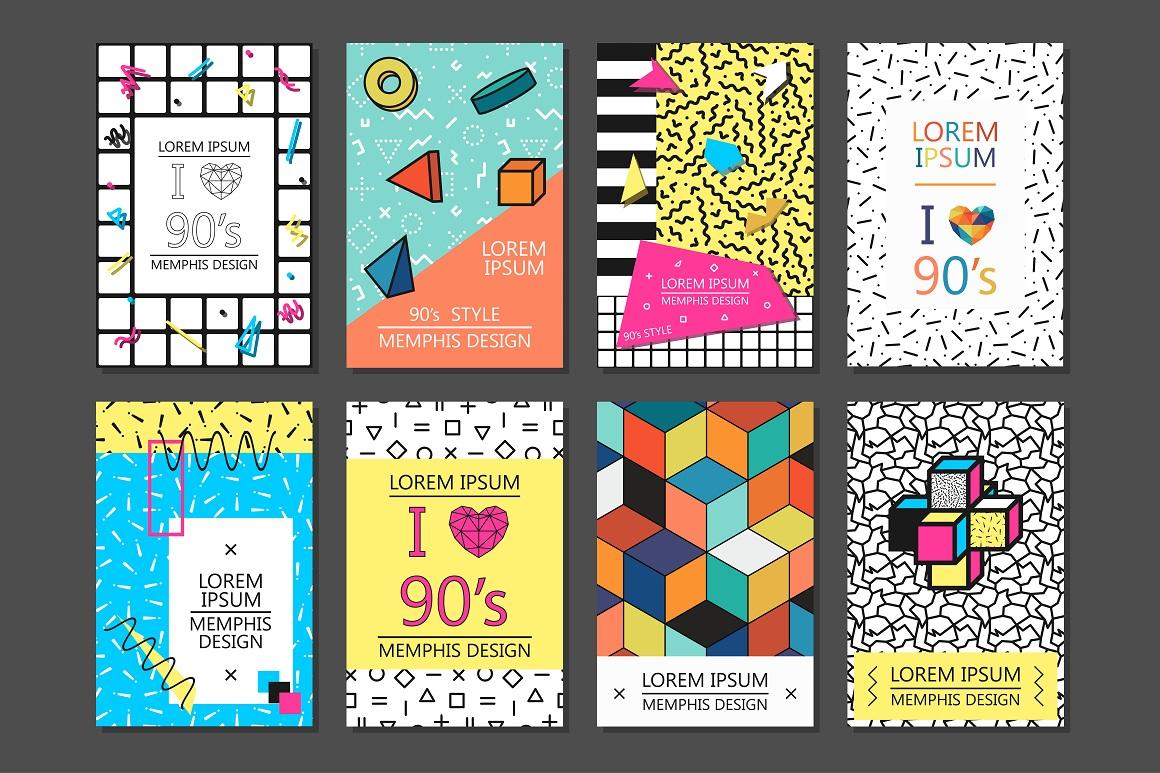 cards posters memphis design