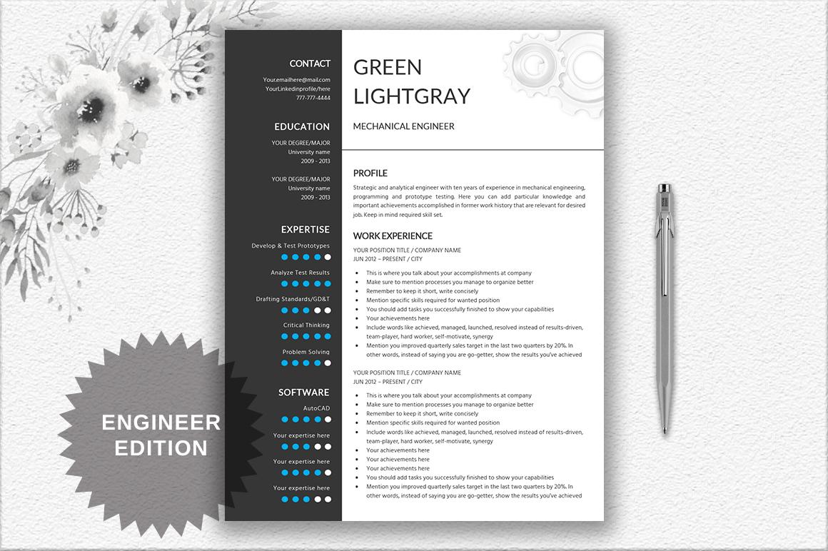 Resume Template Engineer By DocumentFol Design Bundles