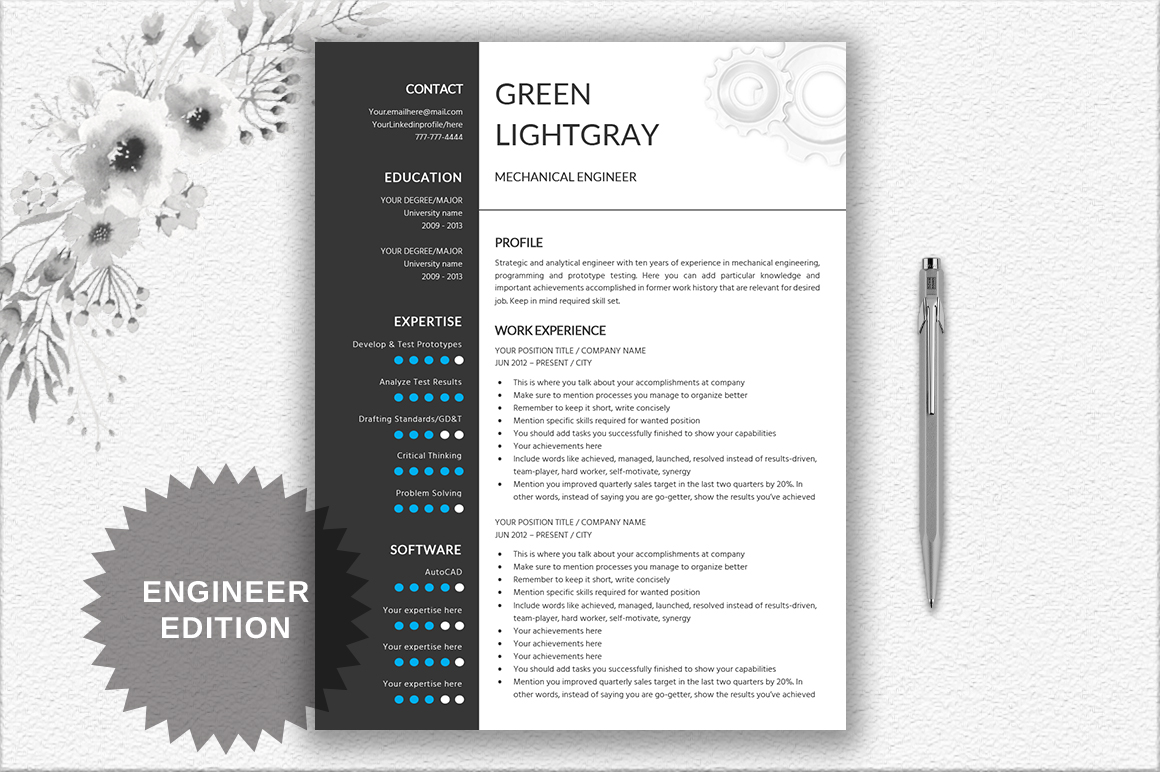 2 Years Experience Mechanical Engineer Resume Resume Template Engineer By Documentfol Design Bundles