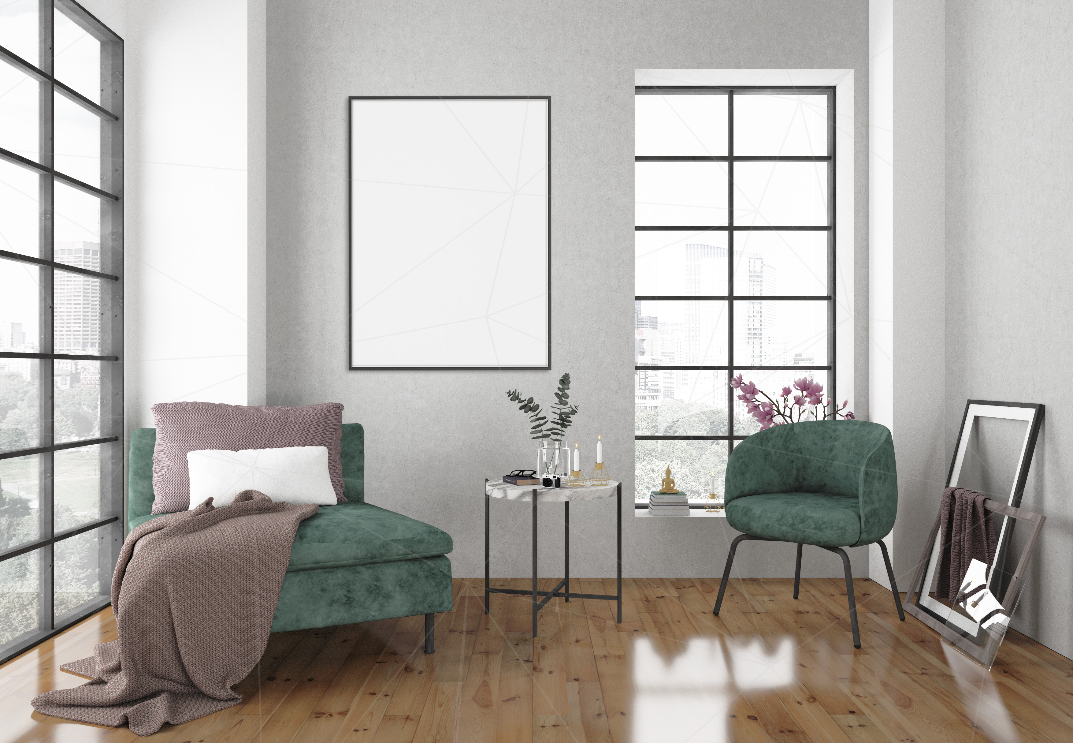Interior mockup bundle - blank wall mock up (46736) | Mock Ups | Design Bundles
