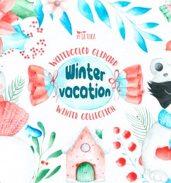 watercolor winter clipart winter vacation example image 1 [ 4167 x 2773 Pixel ]