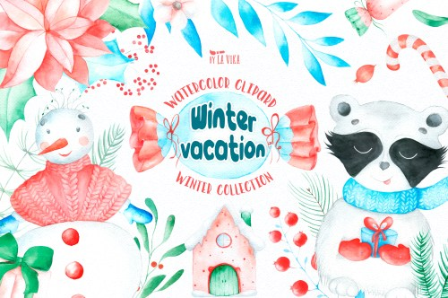 small resolution of watercolor winter clipart winter vacation example image 1