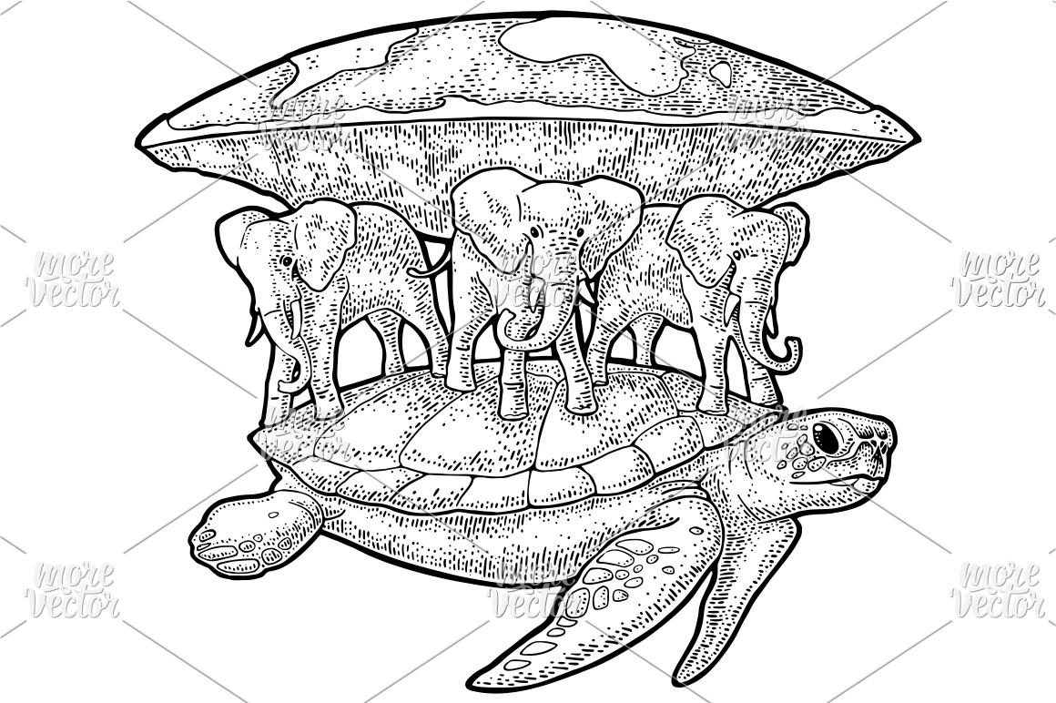 Elephants turtle holding flat earth. Engraving (118935