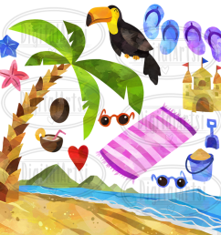 watercolor tropical vacation clipart example image 2 [ 1400 x 1400 Pixel ]