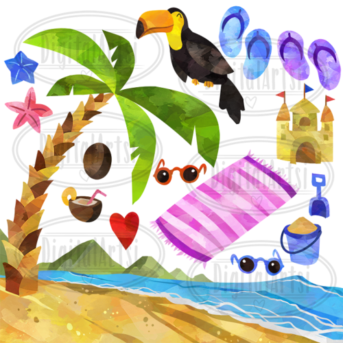 small resolution of watercolor tropical vacation clipart example image 2