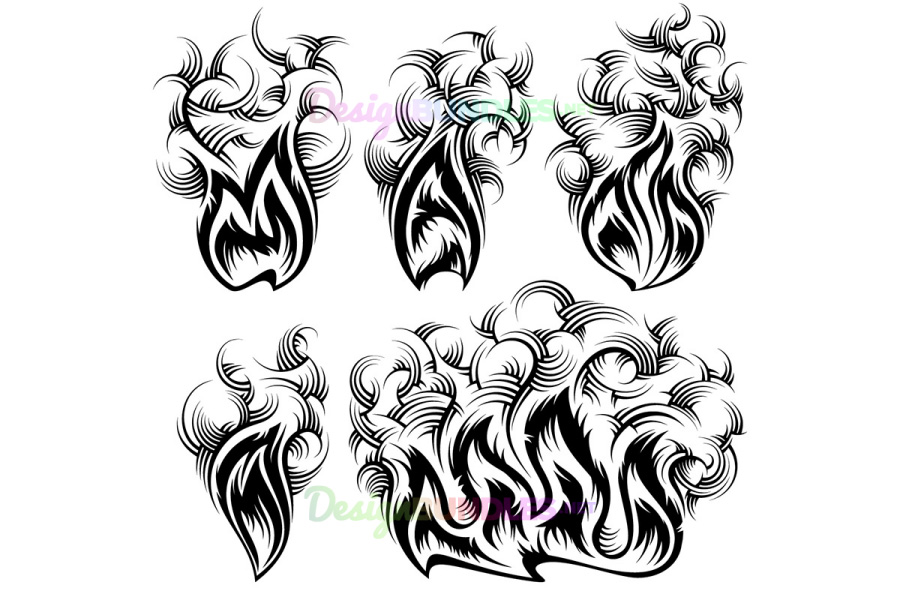 Vector Fire Smoke Spurt Flame Burning Monochrome Ink Icon Set