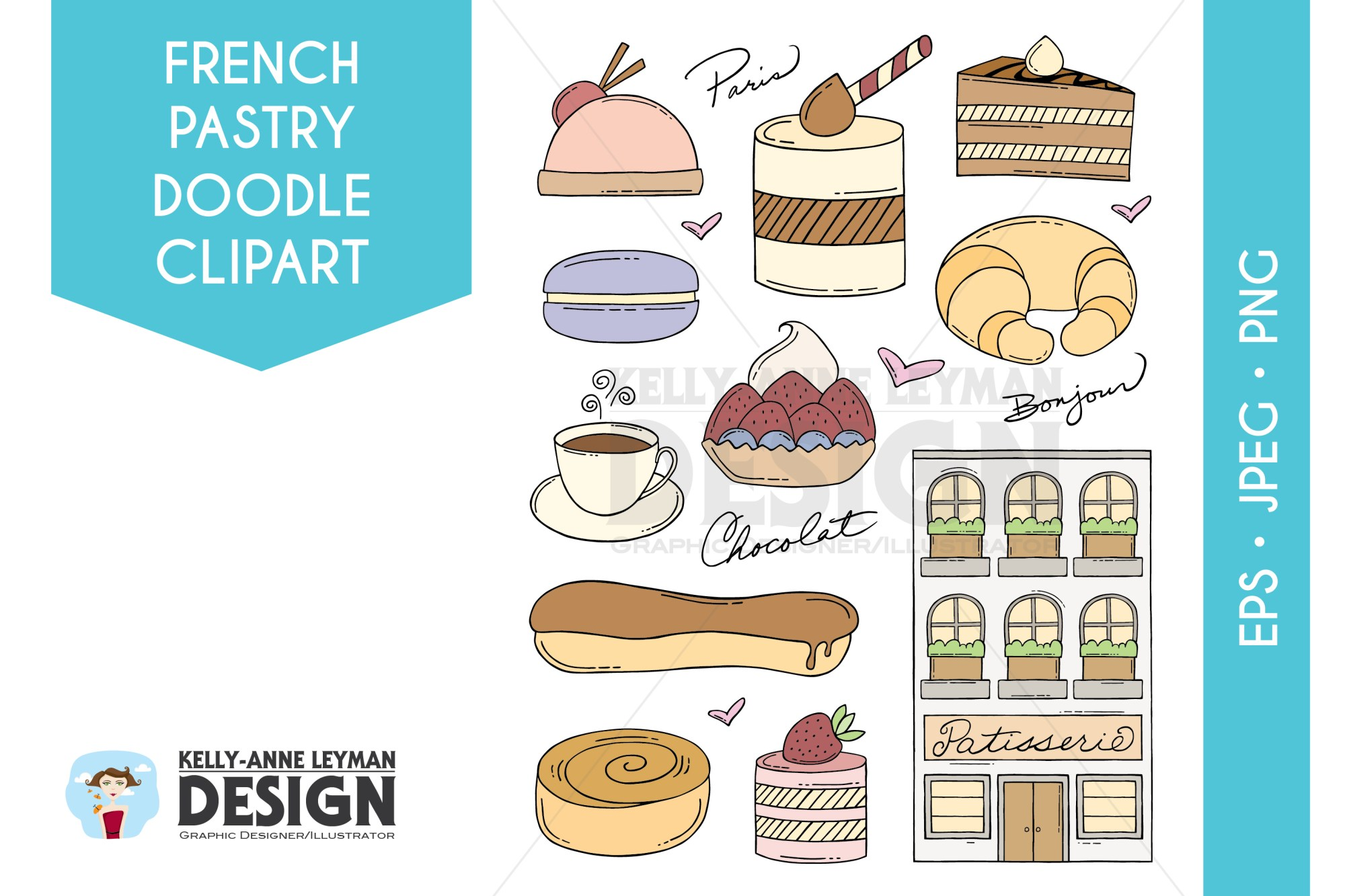 hight resolution of doodle french pastry clip art set dessert clipart food example image 1