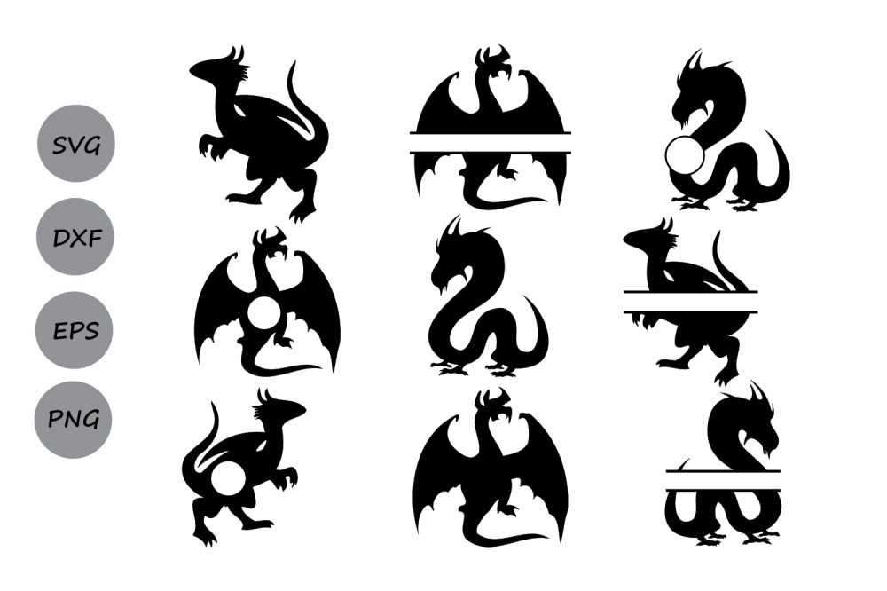 medium resolution of dragon svg dragon monogram svg dragon clipart dragon silhouette silhouette files