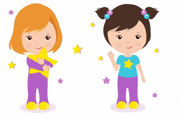 Sleepover Graphics Little Girls Clipart Set