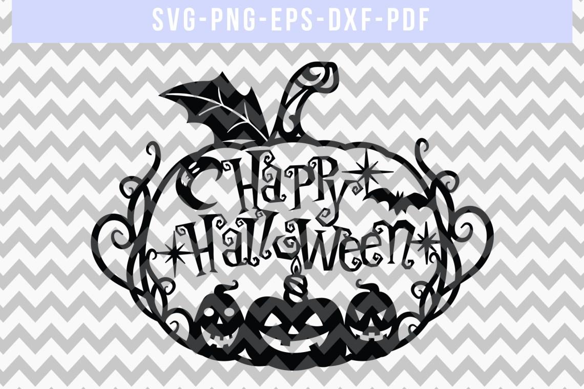 Download Halloween SVG Cut File, Pumpkin Papercut Template, DXF PDF