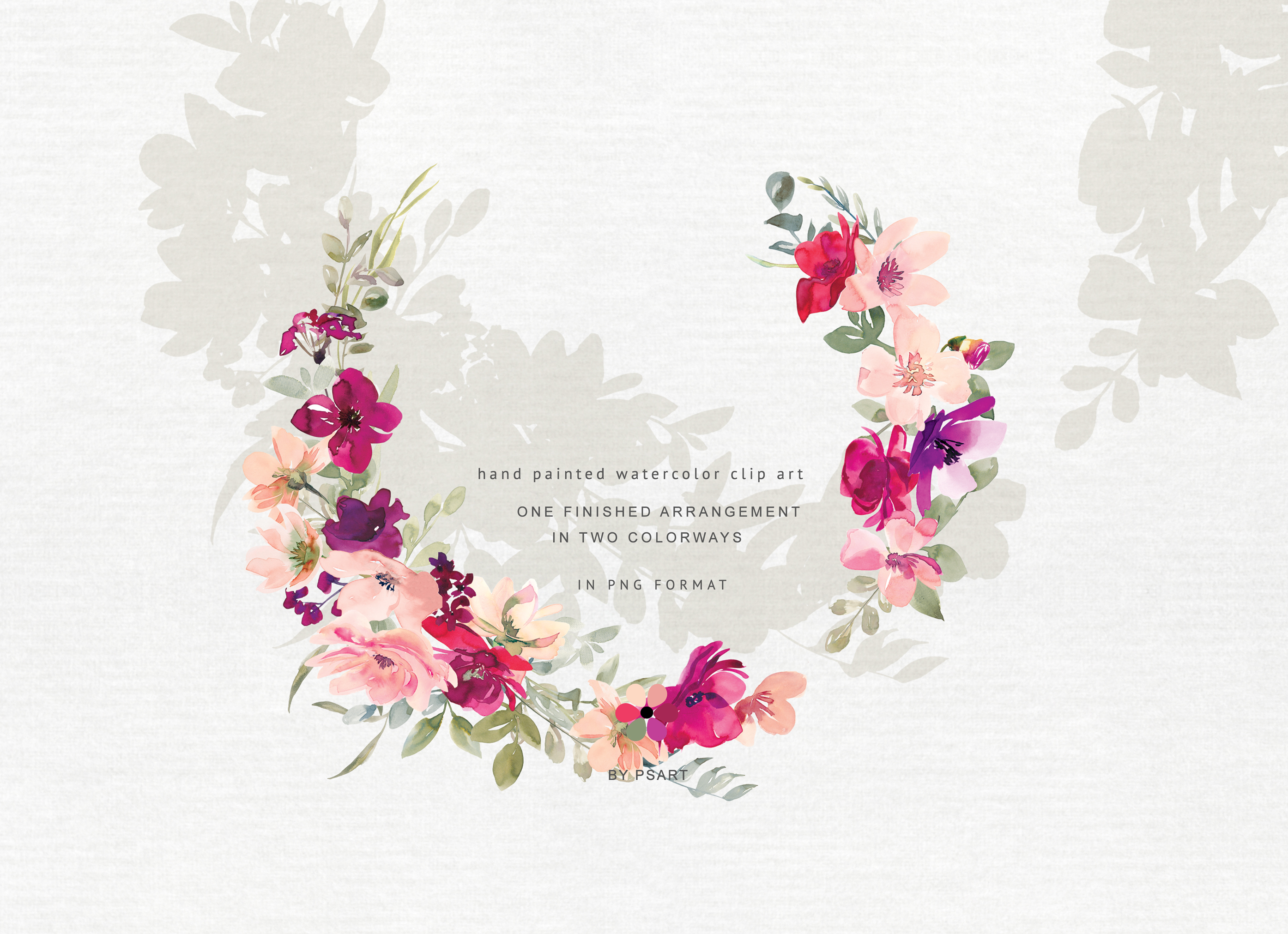 Hand Painted Watercolor Floral Wreath Clipart