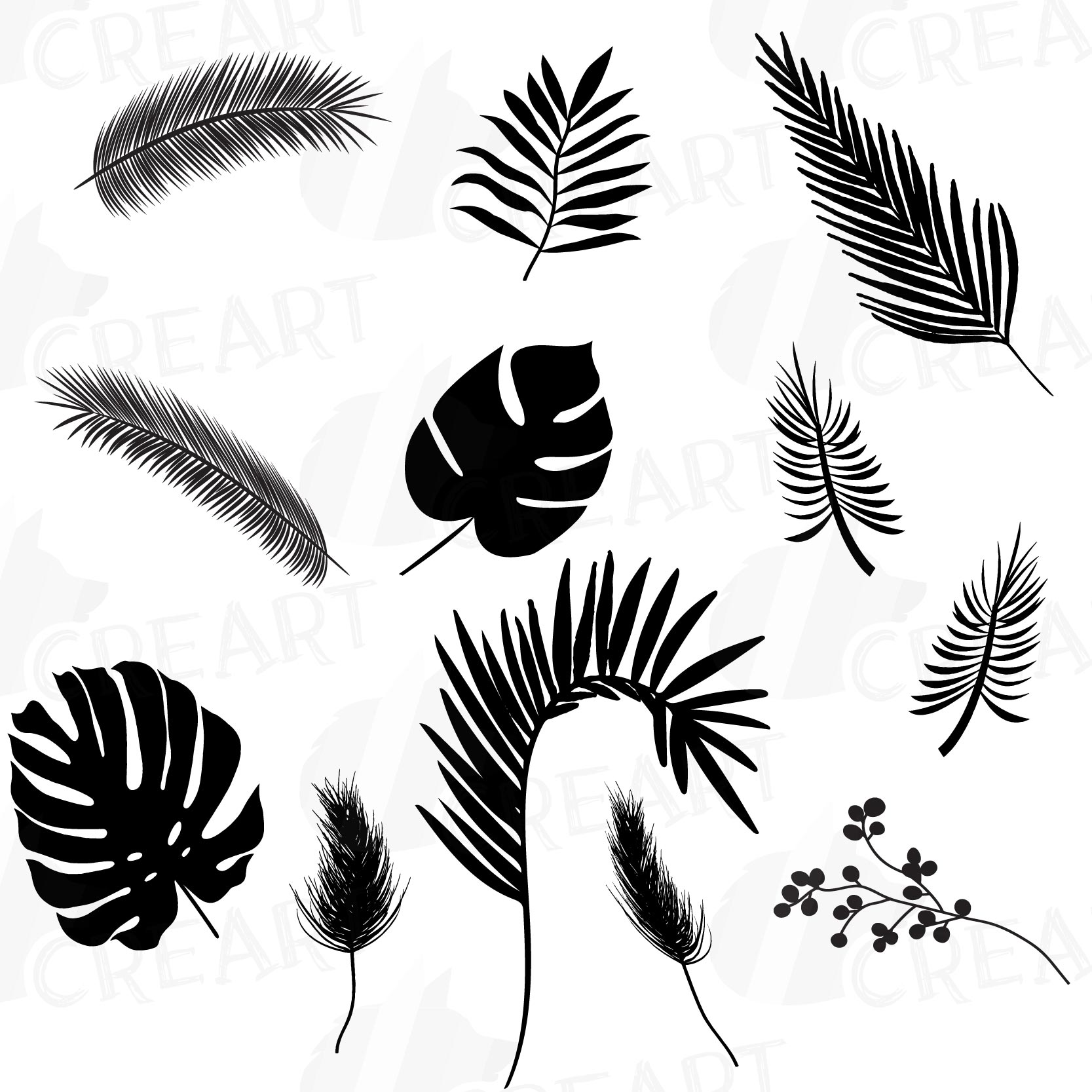 Tropical Leaf Silhouette Clip Art Pack Black And Green