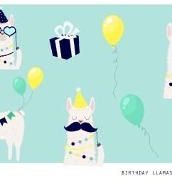 birthday llama clipart set 300 dpi png jpg illustration example image 1 [ 1500 x 1000 Pixel ]