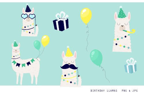 small resolution of birthday llama clipart set 300 dpi png jpg illustration example image 1