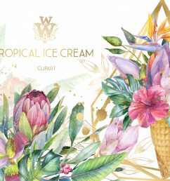 watercolor summer tropical flower clipart floral ice cream example image 1 [ 2157 x 1440 Pixel ]