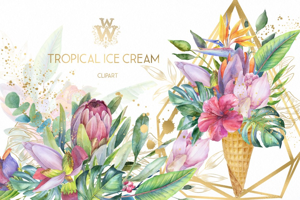 medium resolution of watercolor summer tropical flower clipart floral ice cream example image 1