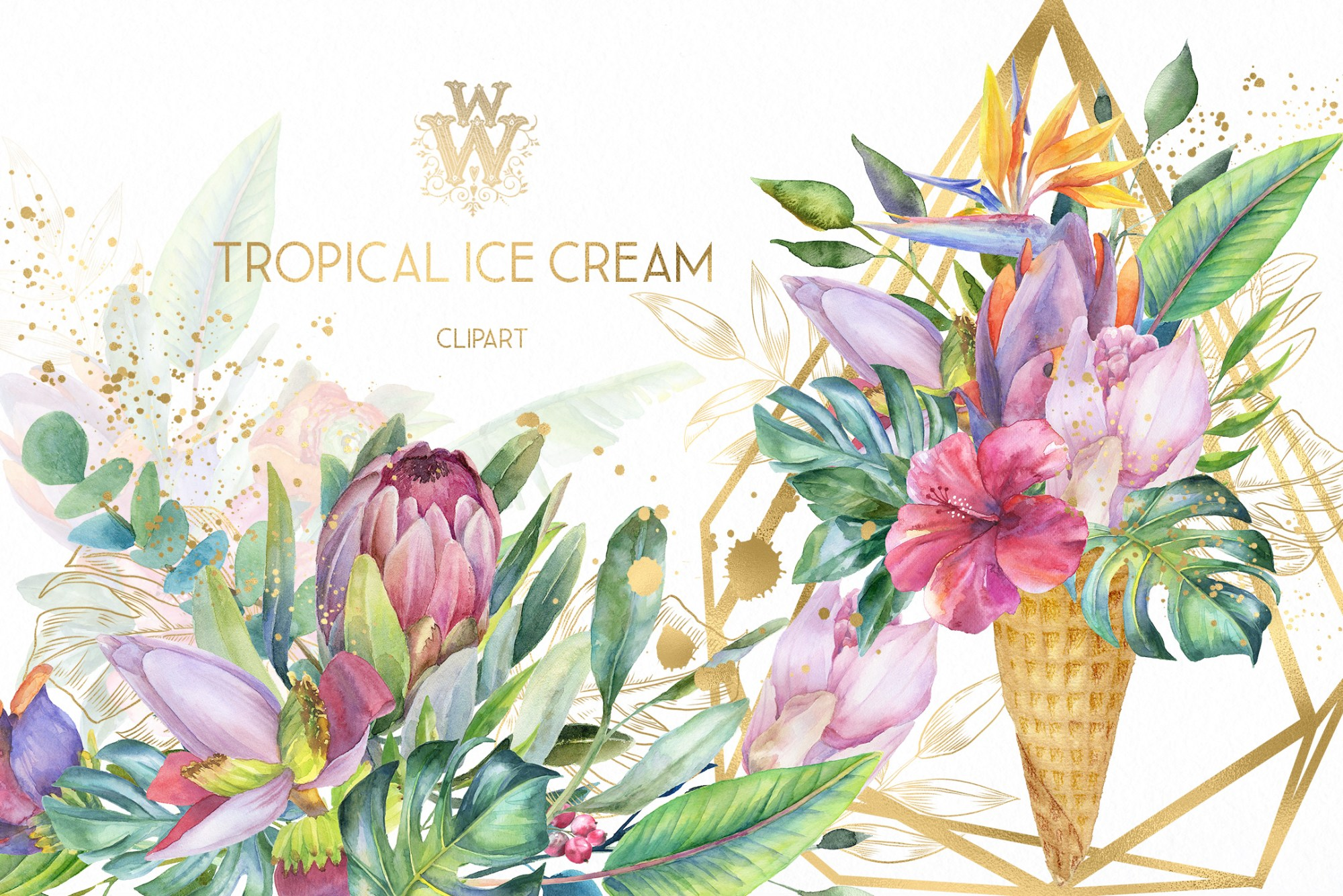 hight resolution of watercolor summer tropical flower clipart floral ice cream example image 1