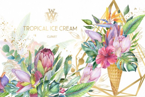 small resolution of watercolor summer tropical flower clipart floral ice cream example image 1