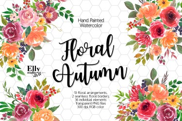 autumn floral clip flowers watercolor fall designer follow graphic clipground