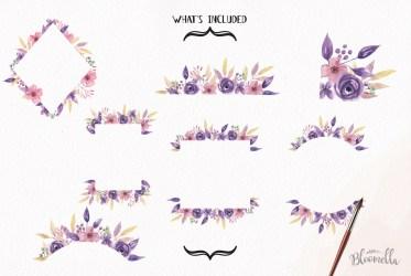 border purple clipart watercolor flowers pink frames florals lilacs example cart