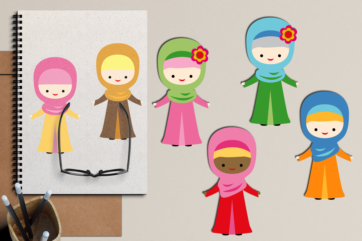 Free clipart images for commercial use. Muslim Hijab Girls - Islam women clipart - Ramadhan ...