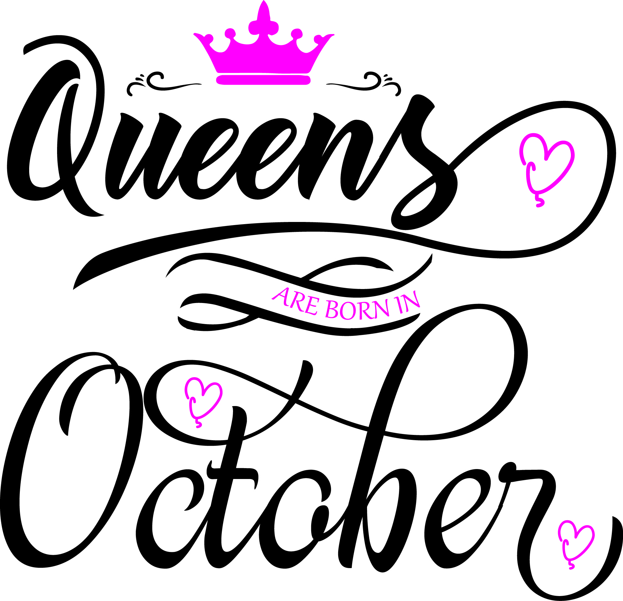 Queens Are Born In October Svg Dxf Eps Vector File