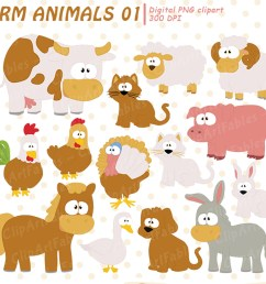 farm clip art set barnyard clipart cute farm animals example image 1 [ 1500 x 1000 Pixel ]
